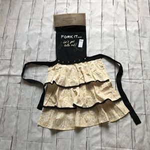 NWT Funny Kitchen Apron Ruffles Embroidered